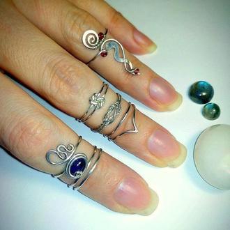 Колечки на палец ноги в ассортименте, серебро, иолит, размер -регулируется