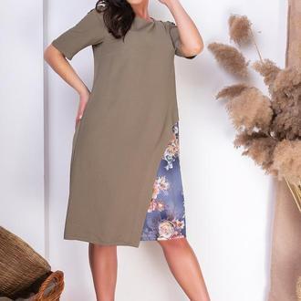 Платье батал NOBILITAS 50 - 58 хаки хлопок (арт. 20018)
