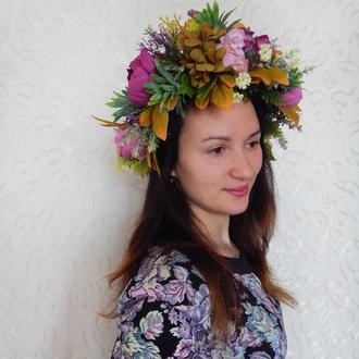 Венок вінок віночок пишний обруч ободок квітковий з піонами фіолетова гамма