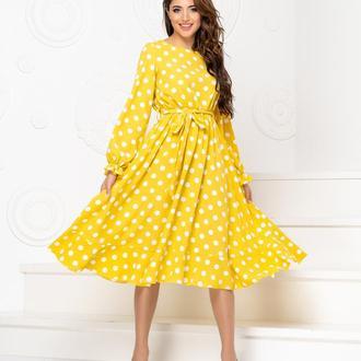 Платье с поясом NOBILITAS 42 - 48 желтое хлопок (арт. 20013)