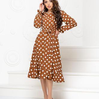 Платье с поясом NOBILITAS 42 - 48 коричневое хлопок (арт. 20013)