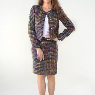 Твидовый костюм ANNA TIM с юбкой до колена