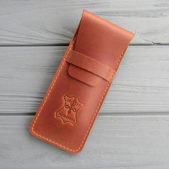 Кожаный пенал для ручек_чехол для ручек из кожи