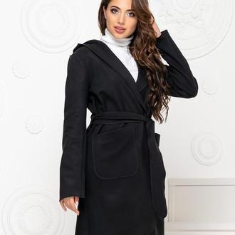 Пальто с капюшоном и поясом NOBILITAS 42 - 48 черное кашемир (арт. 20011)