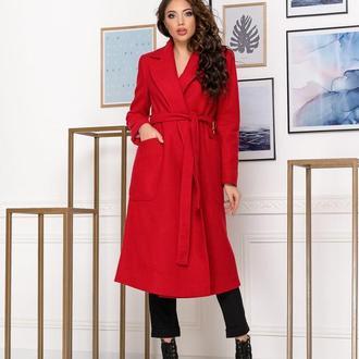Пальто демисезонное NOBILITAS 42 - 48 красное итальянский кашемир (арт. 20012)