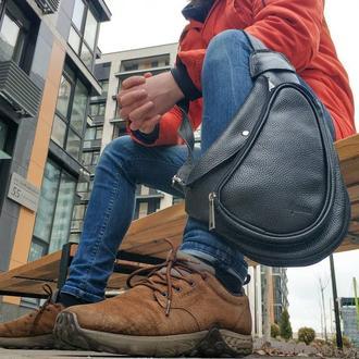 Рюкзак слинг черный из кожи флотар TARWA 3026, кросс-боди сумка