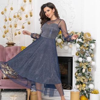 Платье вечернее NOBILITAS 42 - 48 синеетрикотаж с люрексом и сеточка (арт. 19075)