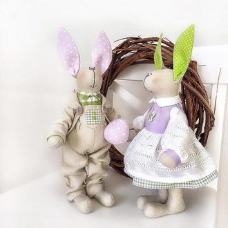 Пасхальные Зайки пара Тильда декор праздника игрушка кролик семья Великдень зайчик