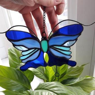 Витражная подвеска на окно «Синяя Бабочка», техника Тиффани.  Бабочка  маленький ловец солнца