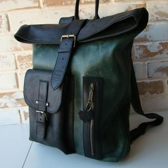 Стильный винтажный кожаный рюкзак ролл / роллтоп