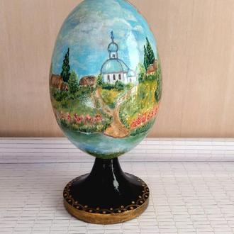 Пасхальное деревянное яйцо , сюжетная  роспись,
