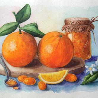 Натюрморт с апельсинами Oranges and orange jam
