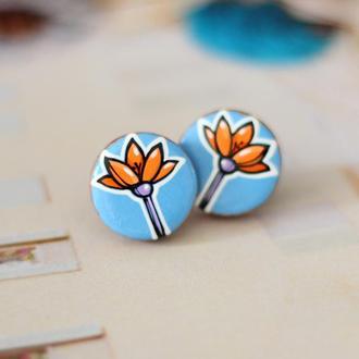 Сережки цветы из дерева