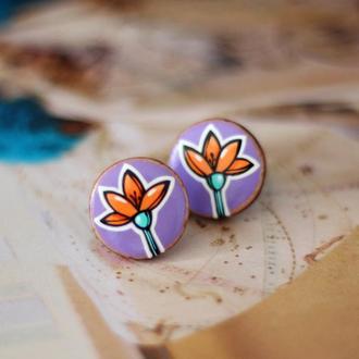 Сережки цветы из дерева.