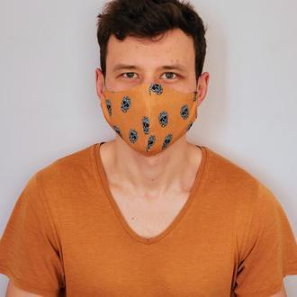 Хлопковые многоразовые маски для лица 2-х слойные