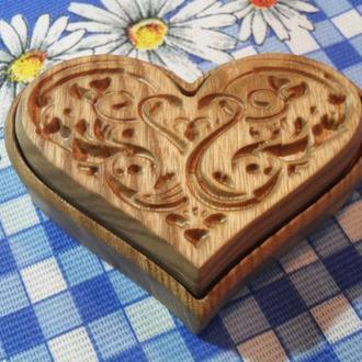 Свадебная деревянная шкатулка для обручальных колец