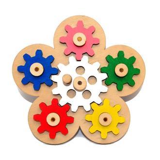 Заготовка для Бизиборда Механизм Цветочек с Шестеренками Цветные Шестерёнки дерев'яні шестерінки