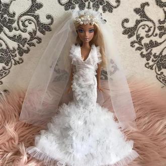 Платье для барби свадебное