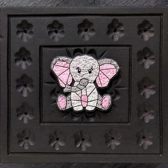 Брошка Слоненя. Геометрична брошка милий Слоник. Полигональная брошь Слоненок
