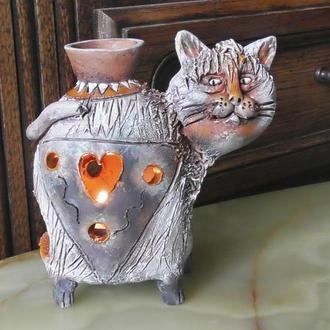 Аромалампа кот керамическая авторская