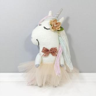 Цветочная единорожка молочно белая Мягкая лошадка с серебром Единорог балерина Игрушка декор