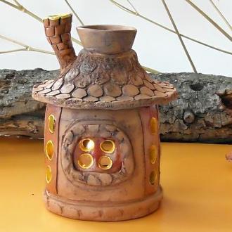 Аромалампа керамическая хата подарок для ароматерапии