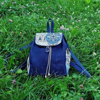 Рюкзак женский джинс и гобелен 15007