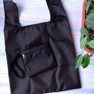 """Сумка-пакет """"Маечка"""" для покупок с чехлом, эко сумка, торба, сумка шоппер,черный"""
