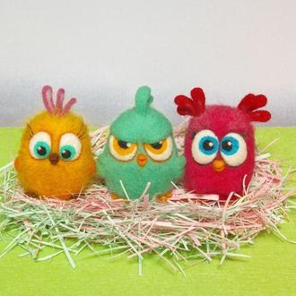 Игрушки валяные из шерсти. Angry Birds птенец Петуния.