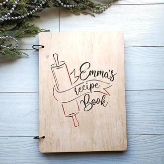 Деревянная книга для записей рецептов с именной гравировкой