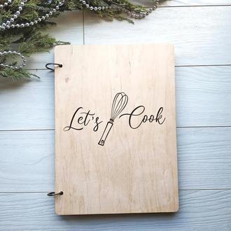 Кулинарная книга в деревянной обложке «Let's cook»