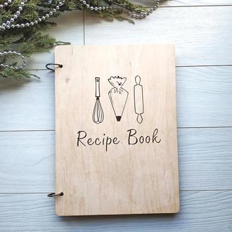 Кулинарная деревянная книга для записи рецептов