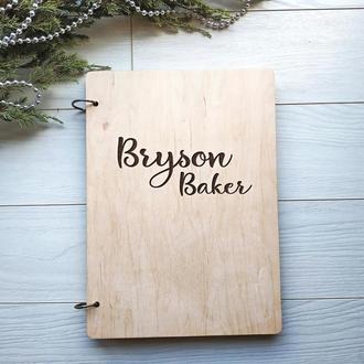 Деревянный блокнот для записи кулинарных рецептов