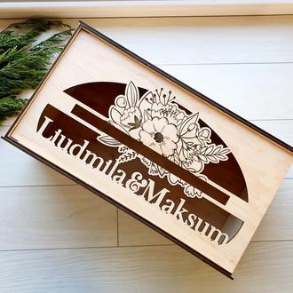 Свадебная деревянная коробка для денег с именами молодоженов