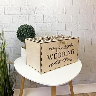 Деревянная свадебная коробка для денег «Wedding»
