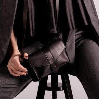 Компактная кожаная сумка на плечо черный