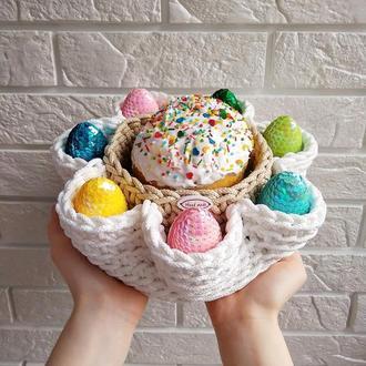 Вязаная пасхальная корзинка, подставка для кулича и яиц, пасхальный декор для кухни