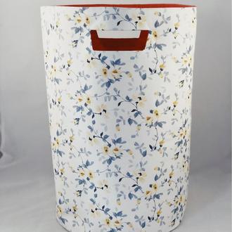 Корзина из ткани, интерьерная корзина с цветами. Декор в детскую. Корзина для детских игрушек.