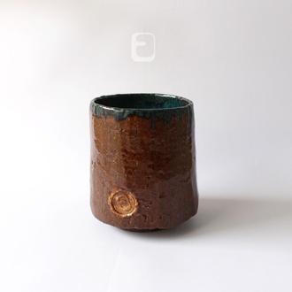 "Work no. 560W — темная чаша, пиала, тяван, чаван ""Emerald Mweelrea"", teabowl in japanese style"