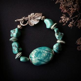 Тайна океана голубой браслет из керамики и имитации бирюзы
