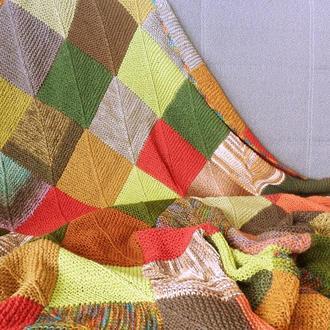 """Вязаный плед Шуршанье осенних листьев серия """"Пэчворк"""" шерсть"""