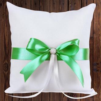 Свадебная подушечка для колец, зеленый бант, арт. 0799-10