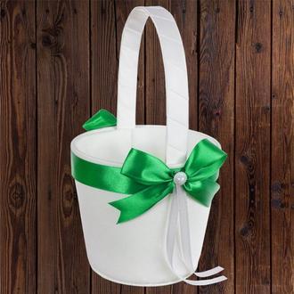 Корзинка для лепестков с зеленым бантом, арт. 0797-10