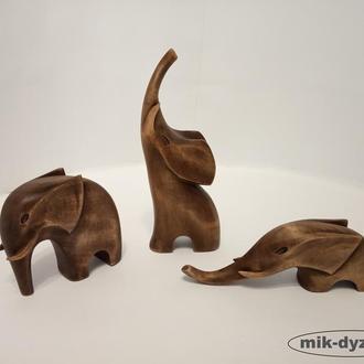 Три слона из дерева 18 см, резьба по дереву, статуэтки слонов