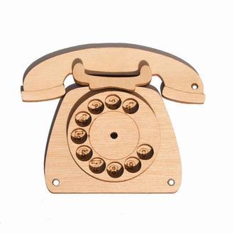 Заготовка для Бизиборда Деревянный ТЕЛЕФОН с диском дисковый Дерев'яний телефончик для бізіборда