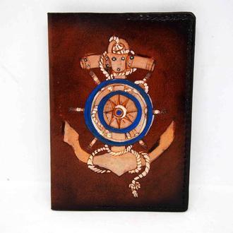 Обложка на паспорт морская, подарок моряку, якорь на обложке на паспорт