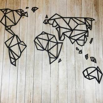 Деревянная геометрическая абстракция на стену «Карта мира»