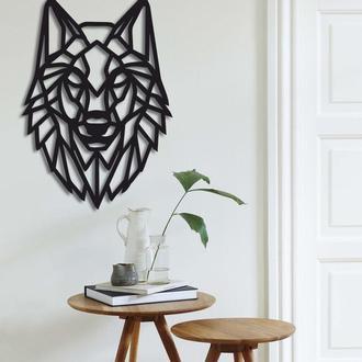 Геометрическое настенное деревянное панно «Волк»