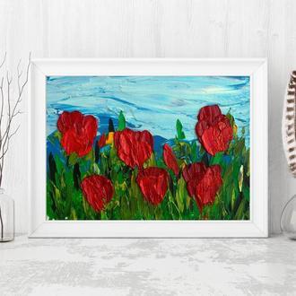 Тюльпаны (картина масло/оргалит) 15х20 см