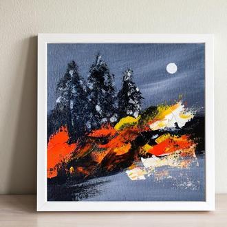 Горящий лес (картина масло/холст на картоне) 20х20 см